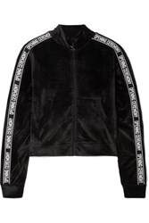 Opening Ceremony Intarsia Trimmed Velour Track Jacket Black