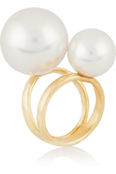 Kenneth Jay Lane Gold Plated Faux Pearl Ring