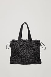 Cos Gathered Padded Tote Bag Black