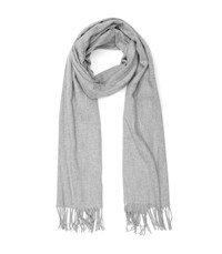 Reiss Temple Oversized Fringed Scarf In Grey Womens