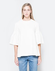 Edit Ls Flute Sleeve Top In White