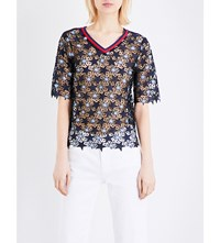 Sandro Star Guipure Lace Top Navy Blue
