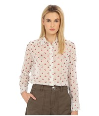 Marc By Marc Jacobs Cherry Pindot Voile Button Up Shirt Off White Multi Women's Blouse Beige
