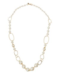 Lydell Nyc Long Golden Large Pearly Link Necklace Women's