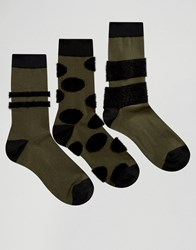 Asos Socks With Fluffy Panels 3 Pack Green