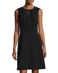 Tahari By Arthur S. Levine Ruffled Sequined Crepe Dress Black