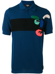 Fendi Embroidered Polo Shirt Blue