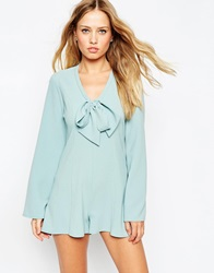 Asos Playsuit With Deep Plunge And Pussy Bow Mint