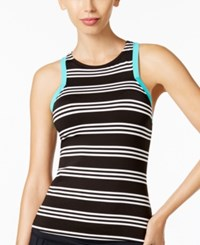 Jag Harbour Stripe High Neck Racerback Tankini Top Women's Swimsuit Black