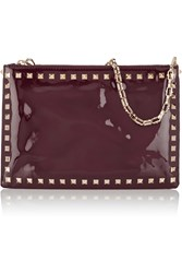 Valentino Studded Patent Leather Shoulder Bag Red