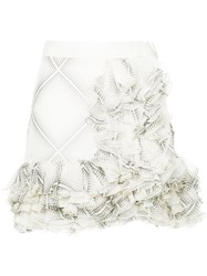 Giambattista Valli Flamenco Style Short Ruffle Skirt White