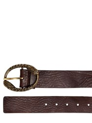Roberto Cavalli Oiled Leather Belt W Snake Buckle