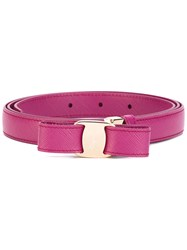 Salvatore Ferragamo 'Vara' Bow Belt Women Leather 100 Pink Purple