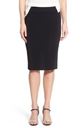 Women's Halogen Side Slit Knit Pencil Skirt Black