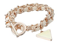 Guess Woven Chain Wrap Around Toggle Convertible Bracelet Rose Gold White Bracelet Pink