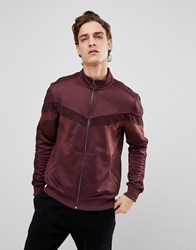 Black Kaviar Track Jacket In Burgundy With Velour Taping Red