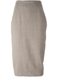 Rick Owens Draped Back Pencil Skirt Nude Neutrals