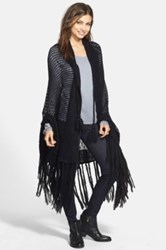 Wildfox Couture 'Garden' Fringed Shawl Black