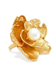 Kenneth Jay Lane Gold Tone Faux Pearl Ring
