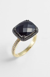 Women's Bony Levy 'Iris' Diamond And Stone Cocktail Ring Yellow Gold Black Onyx Nordstrom Exclusive