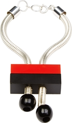 J.W.Anderson Black And Red Brick Beaded Silver Bracelet