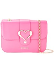 Love Moschino Heart Buckle Shoulder Bag Pink Purple