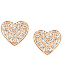 Swarovski Rose Gold Tone Heart Stud Earrings