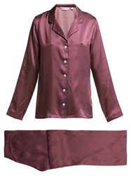 Derek Rose Brindisi 50 Polka Dot Silk Pyjama Set Burgundy