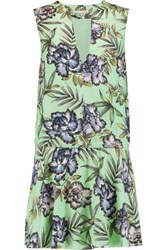 Alice Olivia Brook Printed Washed Crepe Mini Dress Mint
