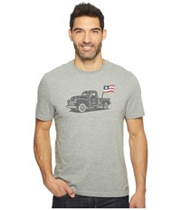 Life Is Good Truck Flag Crusher Tee Heather Gray Men's T Shirt