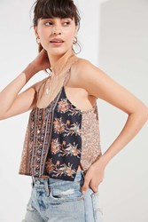 Urban Outfitters Uo Skylar Mixed Print Cami Neutral Multi