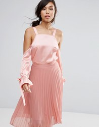Fashion Union Cold Shoulder Top In Satin Pink