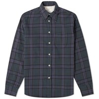 Universal Works Brook Check Shirt Blue