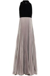 Reem Acra Woman Velvet And Pleated Iridescent Crepe Halterneck Gown Black