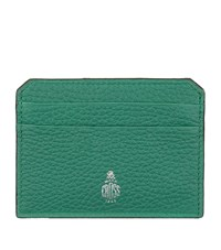Mark Cross Grained Leather Card Holder Green