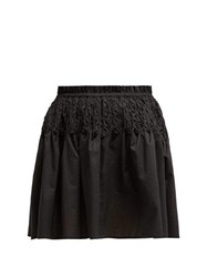 Merlette Eden Smocked Cotton Lawn Mini Skirt Black