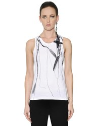 Ann Demeulemeester Printed Cotton Ribbed Jersey Tank Top