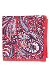 Men's Eton Paisley Silk Pocket Square Pink