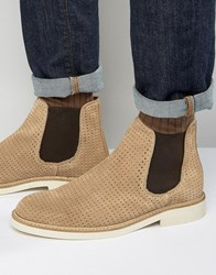 Selected Homme Noah Perforated Suede Chelsea Boots Sand Stone