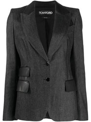 Tom Ford Leather Detail Structured Blazer Black