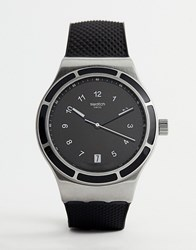 Swatch Yis413 Sistem 51 Irony Silicone Watch In Black 34Mm