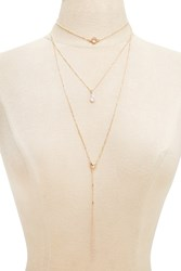 Forever 21 Layered Pendant Necklace Gold Clear