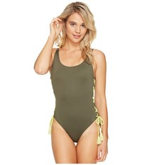 Vince Camuto Lace Up Solids U Neck One Piece Dark Sage Women's Swimsuits One Piece Gray