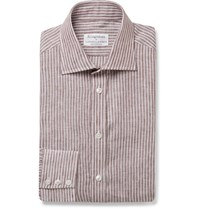 Kingsman Turnbull And Asser Brown Striped Cutaway Collar Cotton Shirt Brown