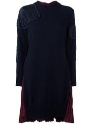 Sacai Patchwork Knitted Dress Blue