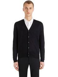 Prada Virgin Wool V Neck Cardigan Midnight Blue