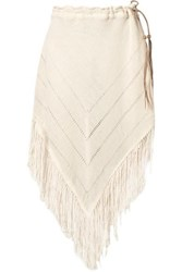 Caravana Tecoh Leather Trimmed Fringed Cotton Gauze Skirt Ecru