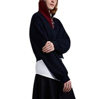 Cedric Charlier Cotton Crop Half Zip Sweatshirt Navy