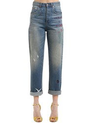Gucci 17Cm Embroidered Cotton Denim Jeans Blue