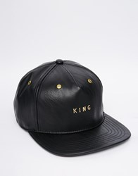 King Apparel Faux Leather Snapback Cap Black